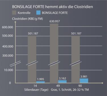 Siliermittel BONSILAGE FORTE mit Hemmwirkung gegen Clostridien