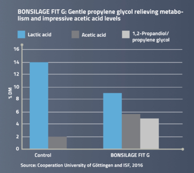 BONSILAGE FIT G forms propylene glycol and improves cow fitness.