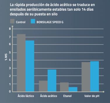 La rápida producción de ácido acético se traduce en ensilados aeróbicamente estables tan solo 14 días después de su puesta en silo