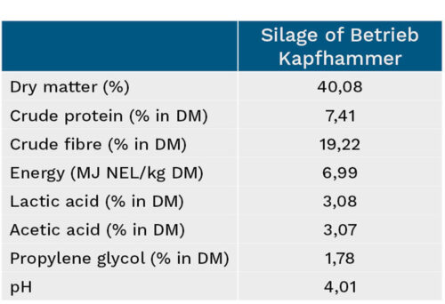 Overview of maize silage characteristics - Betrieb Kapfhammer