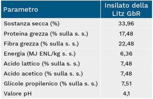 I valori in sintesi dell'insilato dell'Azienda Litz GbR