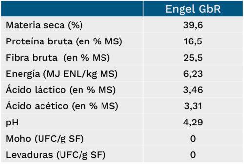 Resumen de características del ensilado de Engel GbR